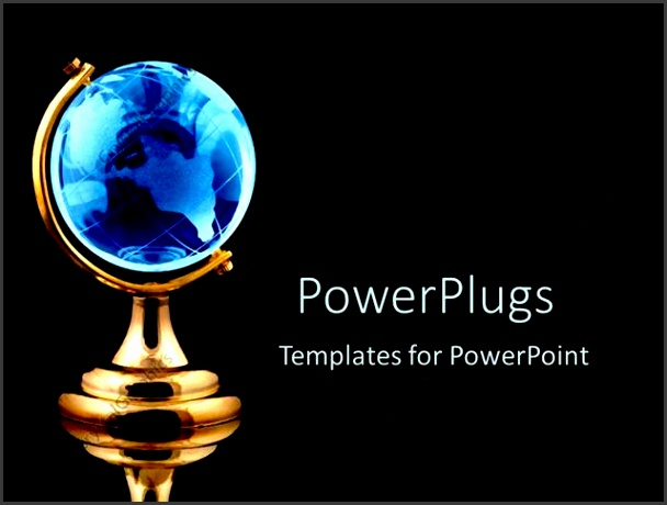 PowerPoint Template Displaying Blue Globe Black Background Gold World White Text munication