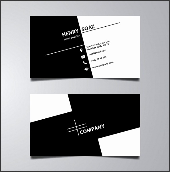 Simple black and white business card template Free Vector