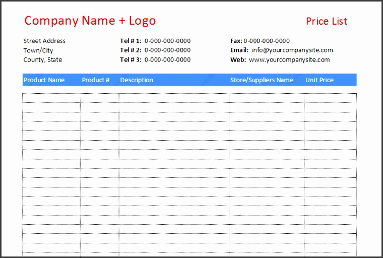 Price list template to pare different prices featured image