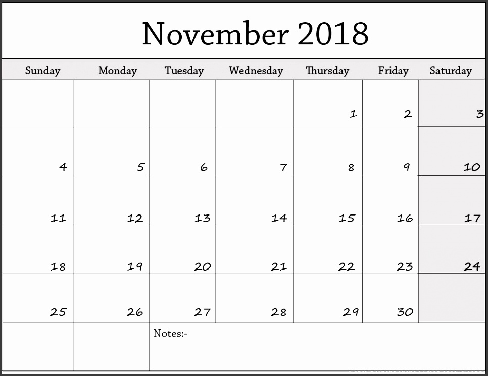 November 2018 monthly calendar November 2018 printable calendar template