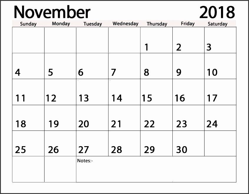 2018 November Monthly Printable Calendar
