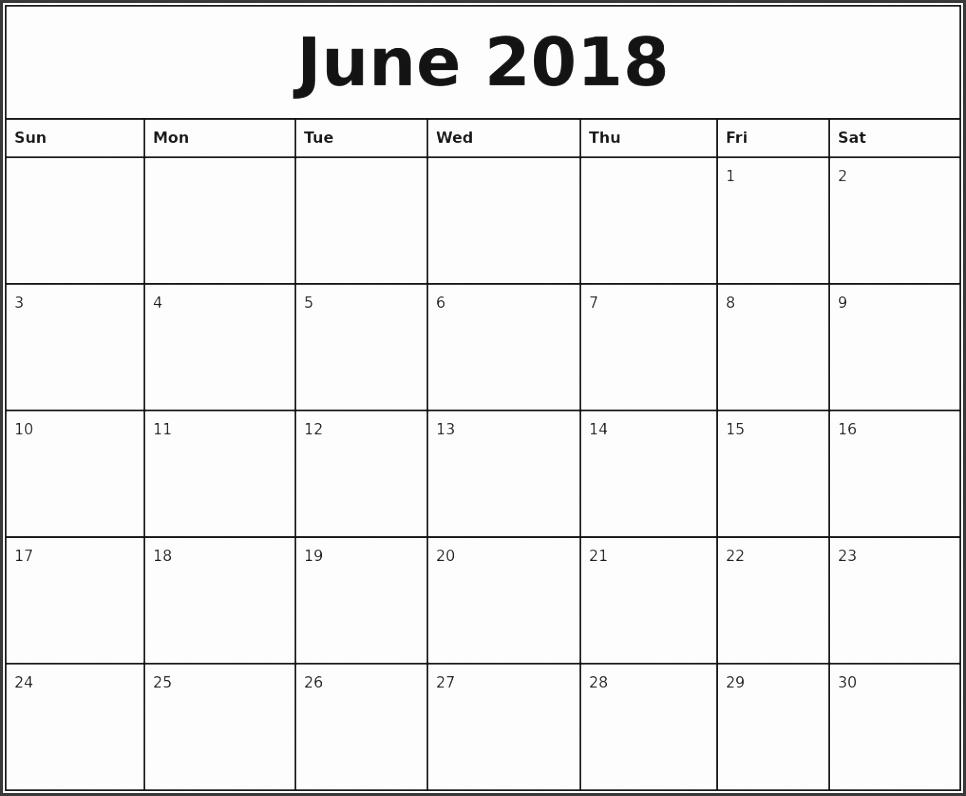 June 2018 Printable Monthly Calendar