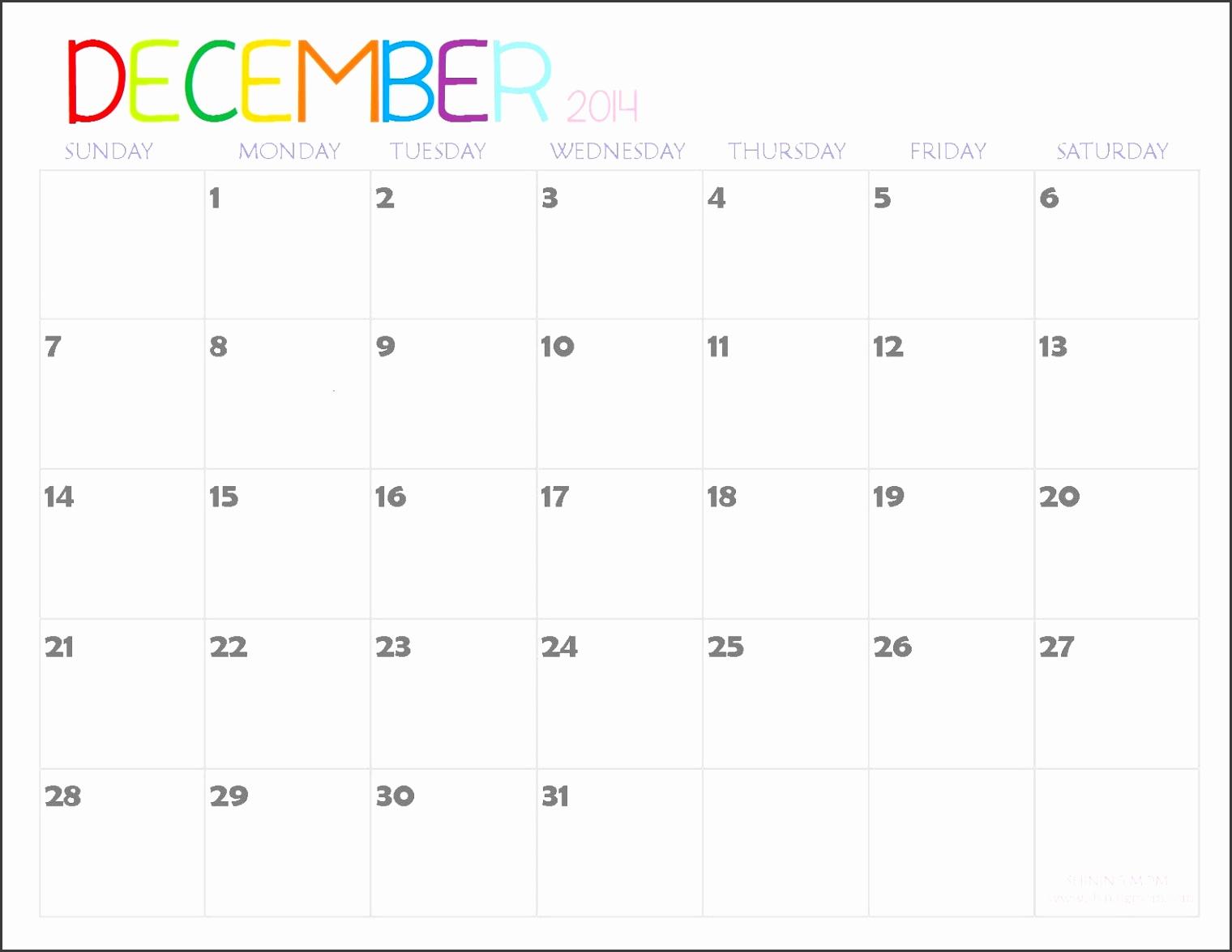 printable december 2014 calendar word template free printable 2014 calendar december