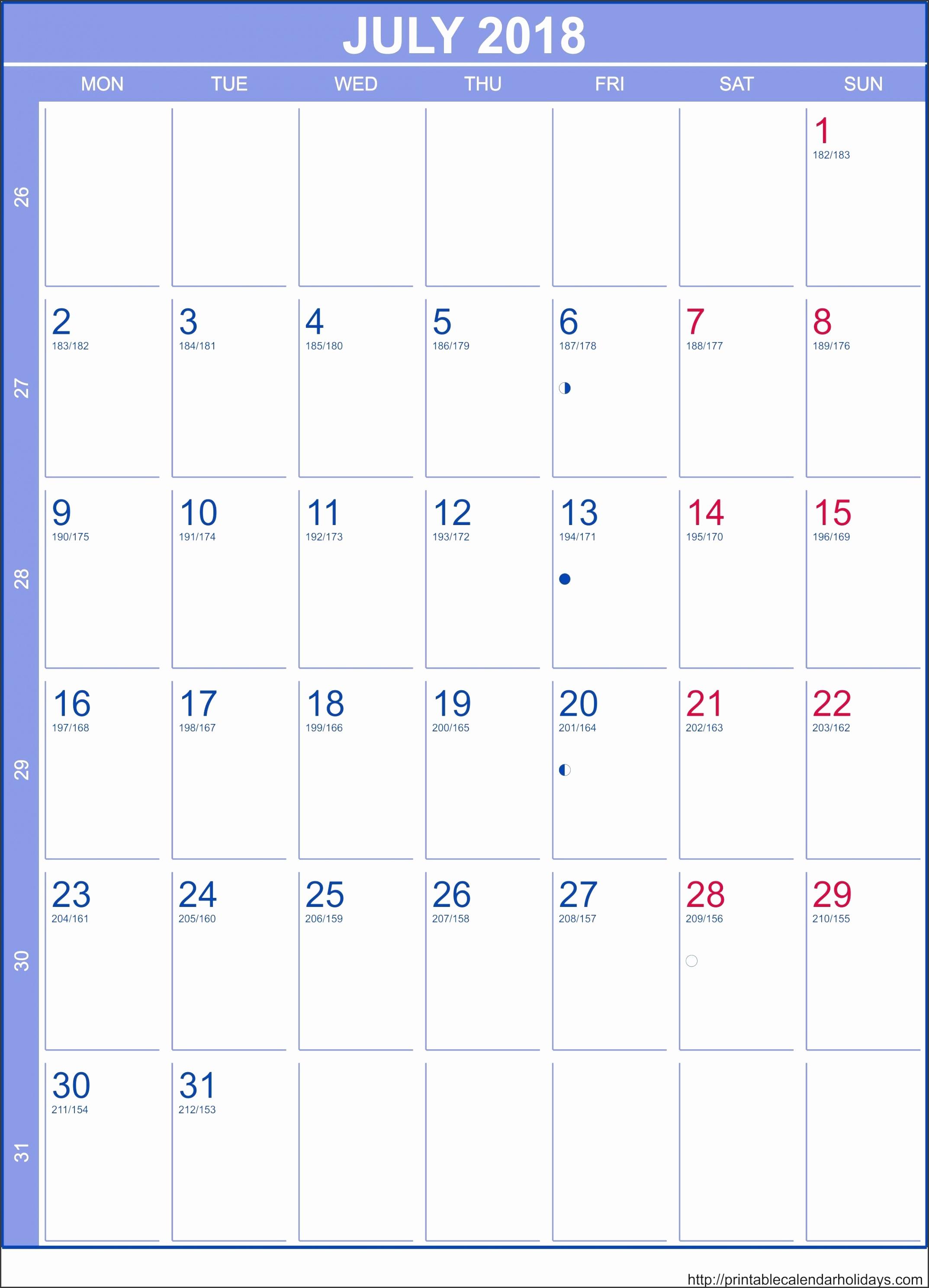 July 2018 Calendar – Template Portrait Printable 2017 Calendar within Printable Calendar July 2018 Portrait