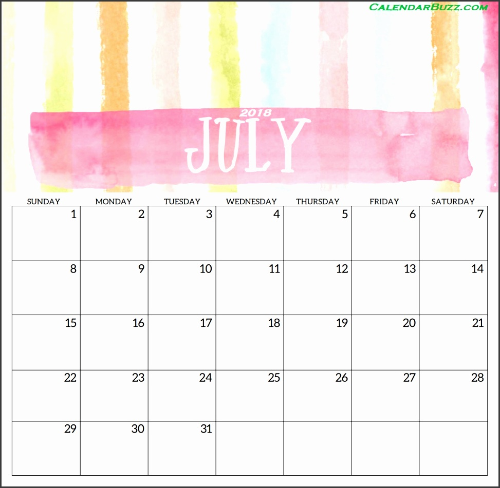 June 2018 Printable Template July 2018 Printable Template
