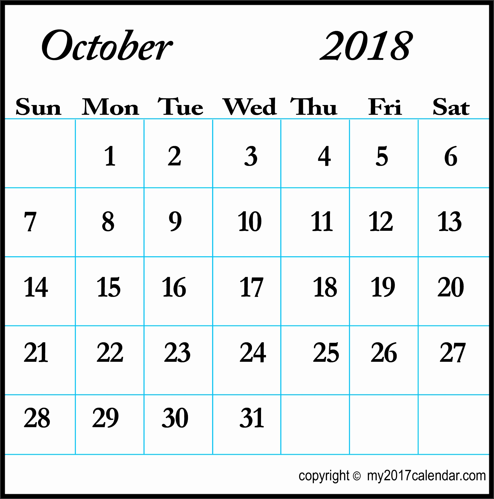 line October 2018 Calendar Template