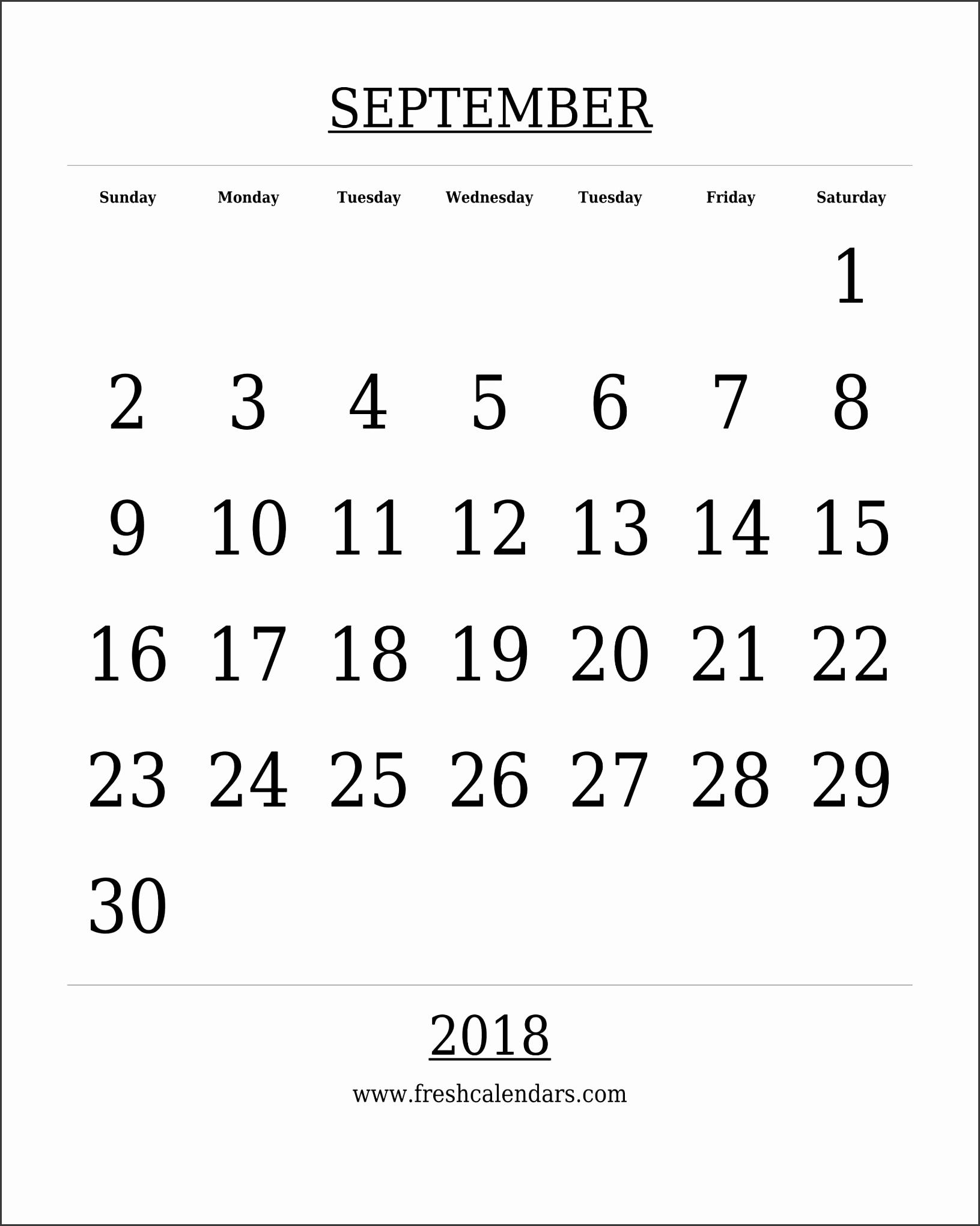 Free Printable Template September 2018 Calendar Bold Style