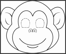 Free Printable Monkey Face Template Monkey Coloring Pages for Kids Printable Hanging Monkey Template Monkey Mask Template Printable