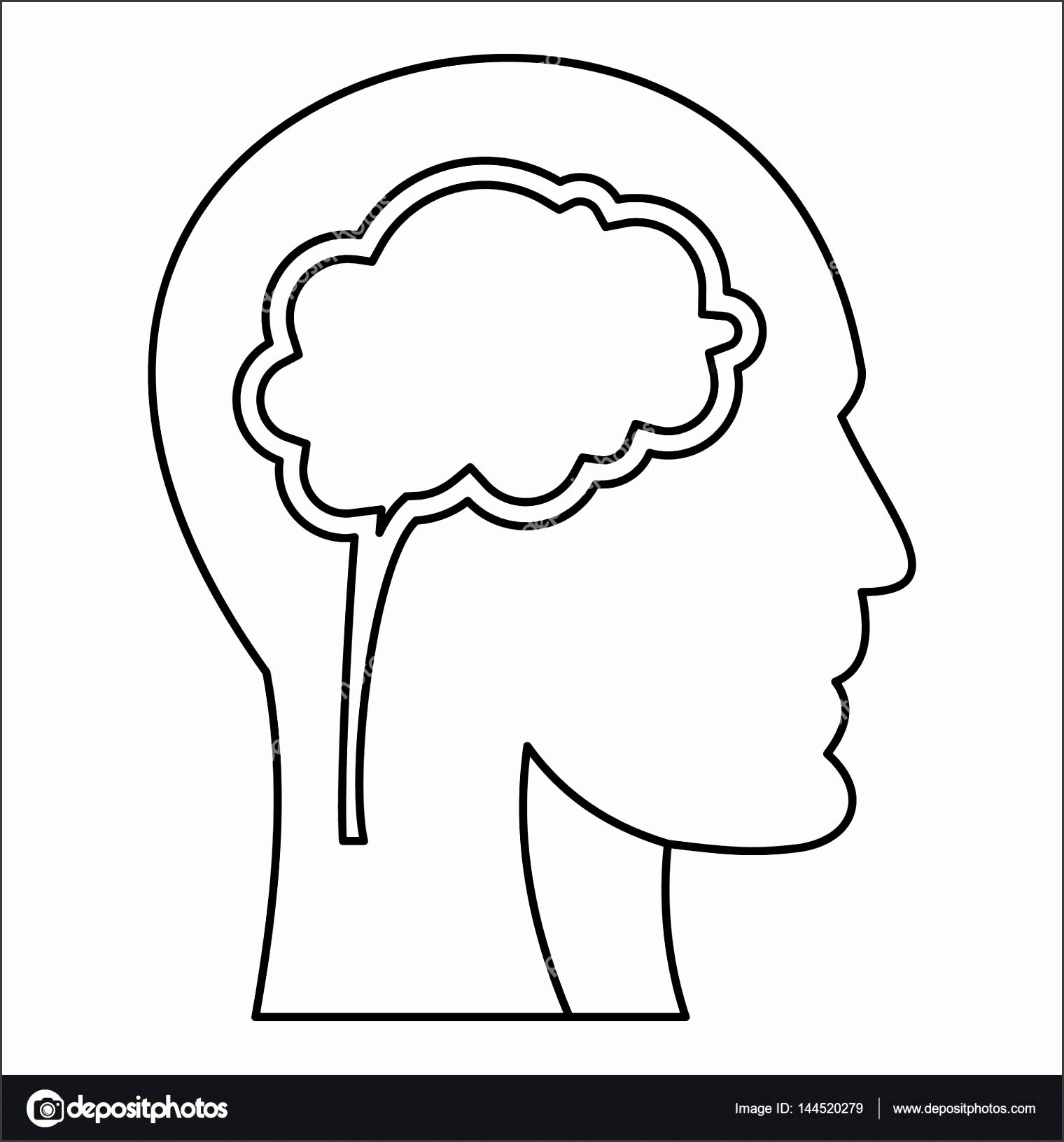 Human Head With Brain Icon Outline Style Stock Vector Figure Template Blank Body Printable Full