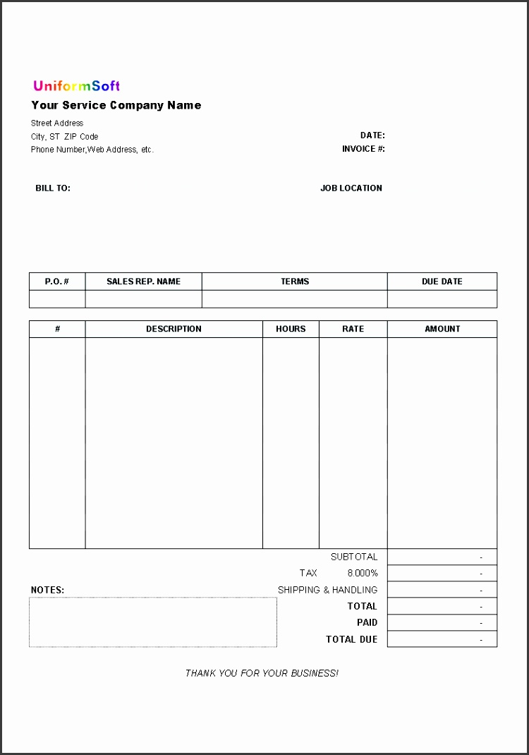 hourly invoice form printed