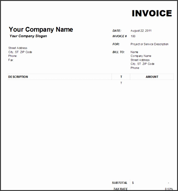 5 Free Blank Invoice Template Word