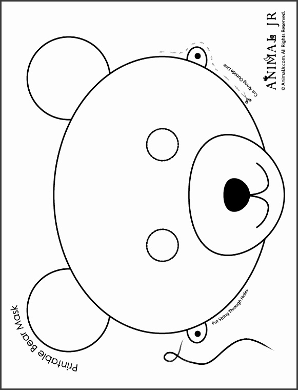 Bear Mask to Print and Color