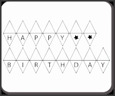 Black outline to print onto coloured papers Bunting TemplateCake