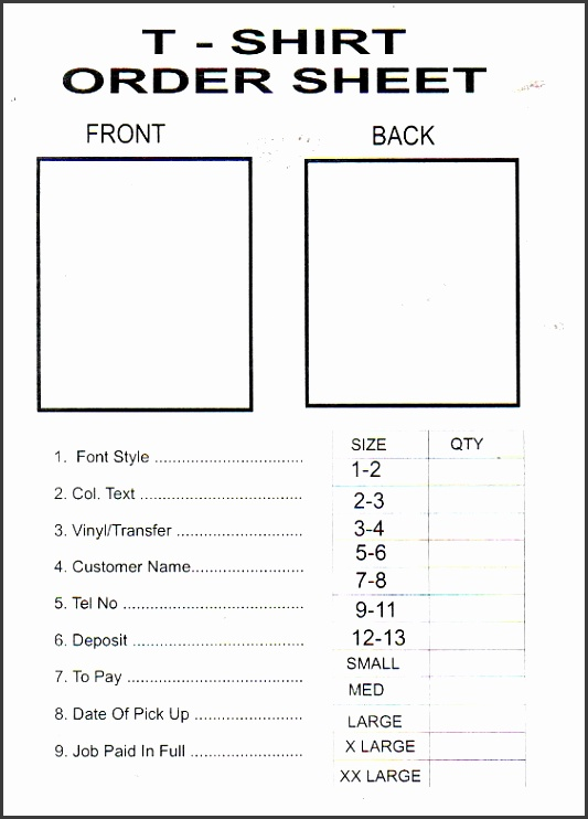 T Shirt Order Form Word Template on google sheets, excel free,