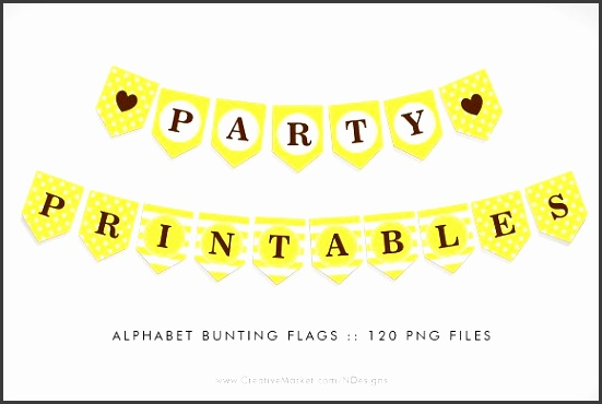 Yellow Bunting Flag Party Printables Flyers