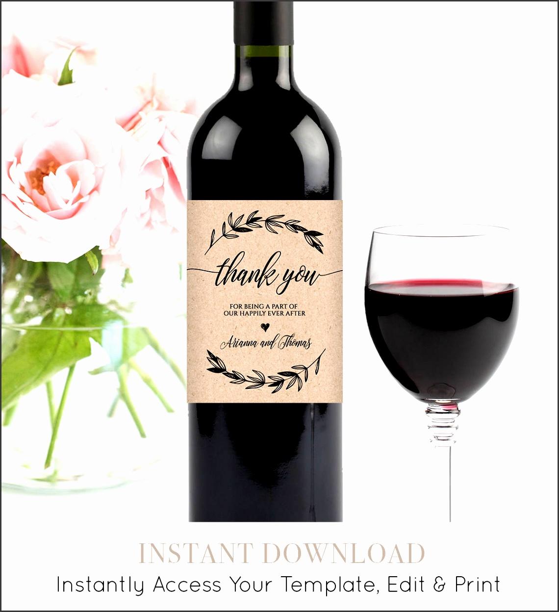 Wedding Wine Bottle Label Printable Wine Label Template Editable Wine Wedding Favor Custom Label Instant Download DIY 023 102WL