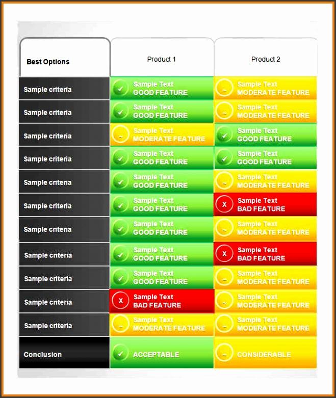 parison chart template sample product parison chart template parison