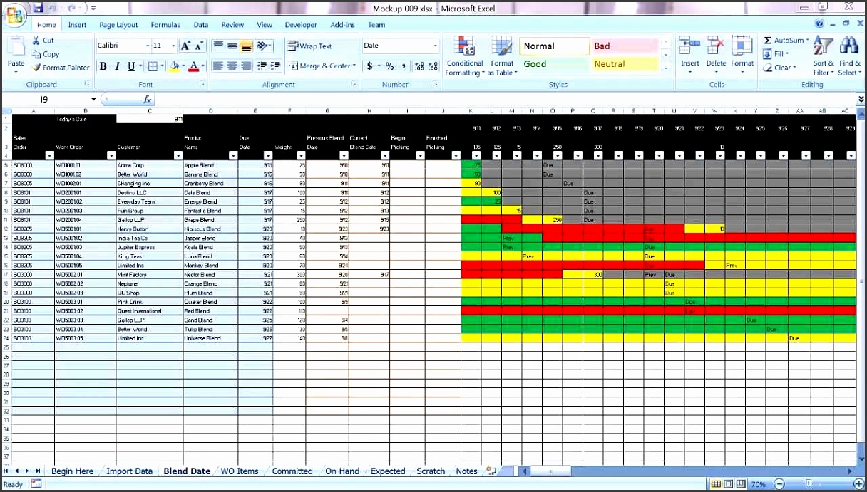 Excel Graphical Production Planning and Control Planner Manufacturing BOM Scheduling Demo Part 1