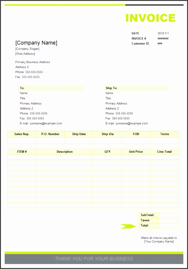 Professional Invoice Templates Sales Invoice Examples And Templates Free Download