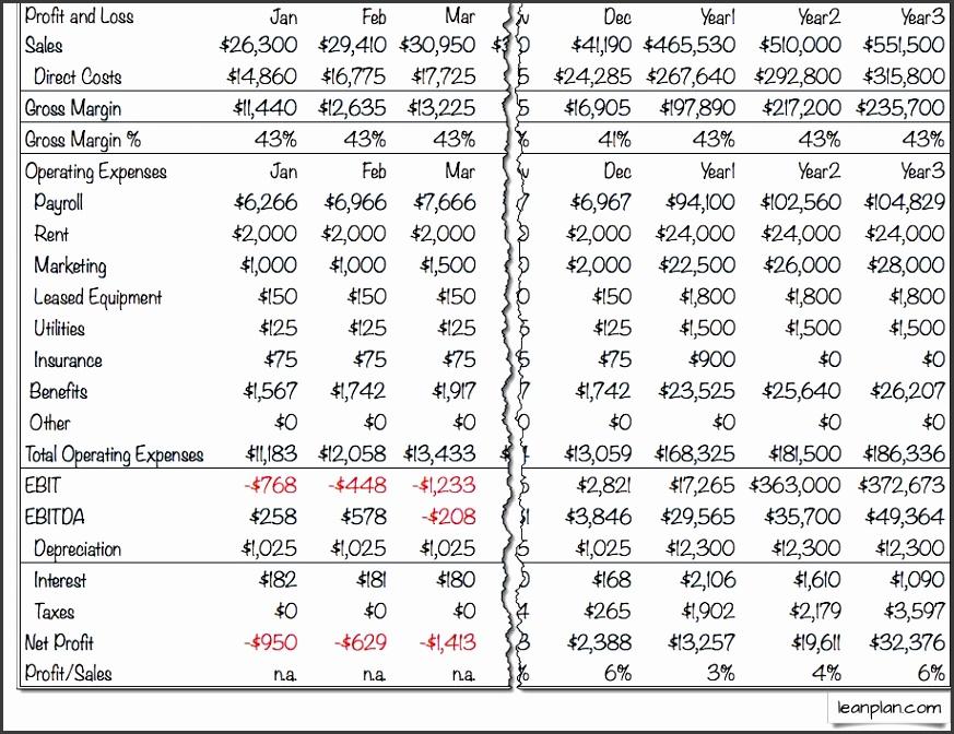 Sample Profit Loss