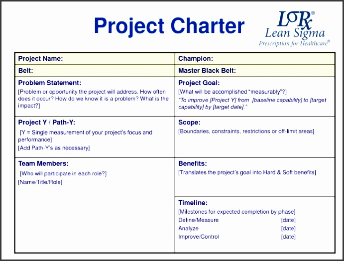 Image Project Charter Template size