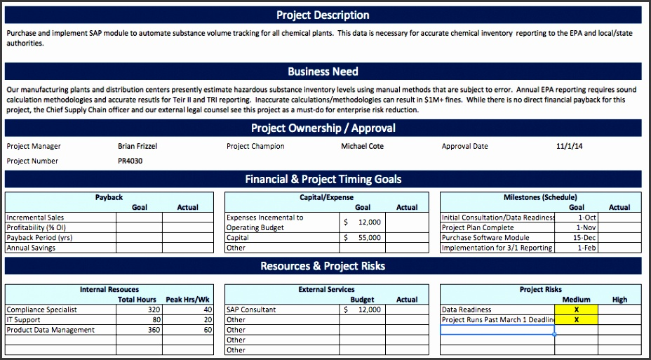 Project Charter Example for Software Implementation