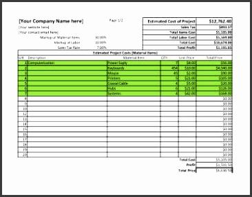 Project Estimate Spreadsheet