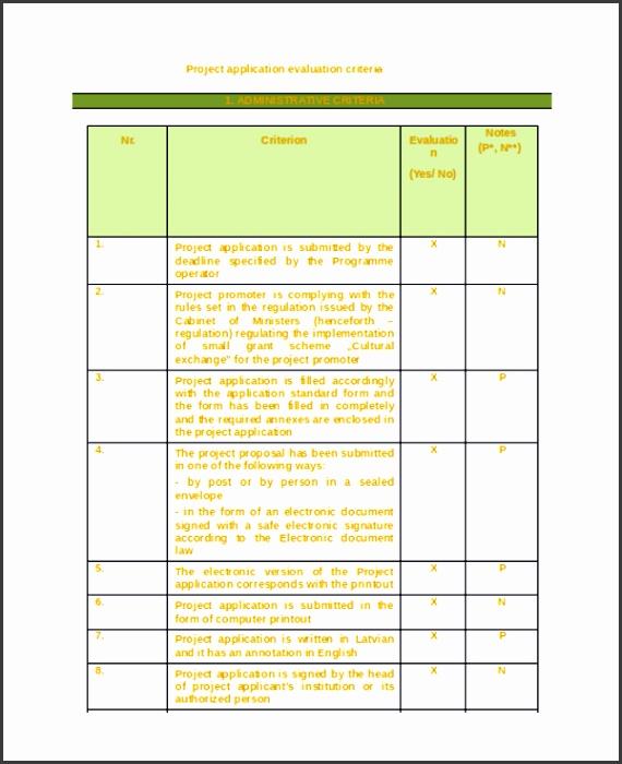 Project Evaluation Criteria Template