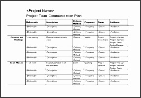 Free Project Team munication Plan