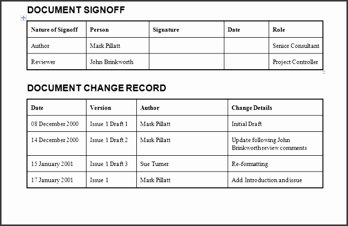 Document Change Record Download for Project Management Document Templates