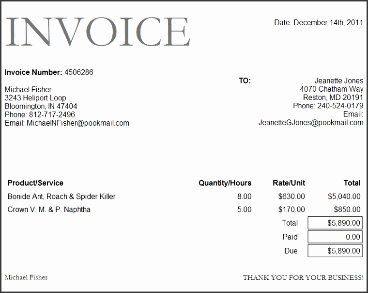 Project Management Invoice Template Inspirational Free Invoice Template Word format Download