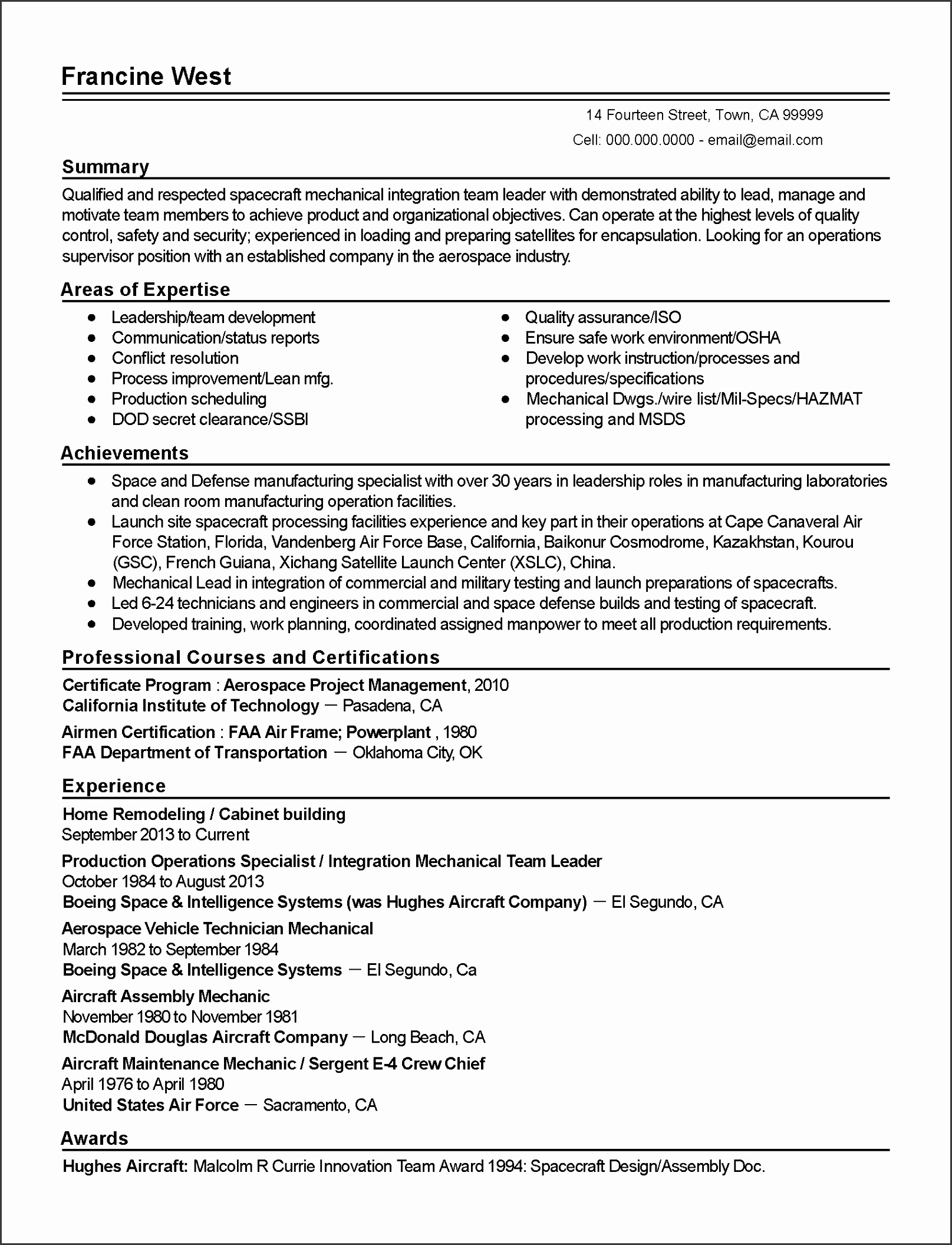 Resume Templates Aerospace Project Manager