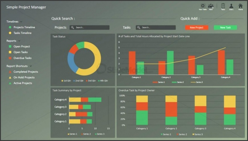 PPT Template Project Portfolio Dashboard