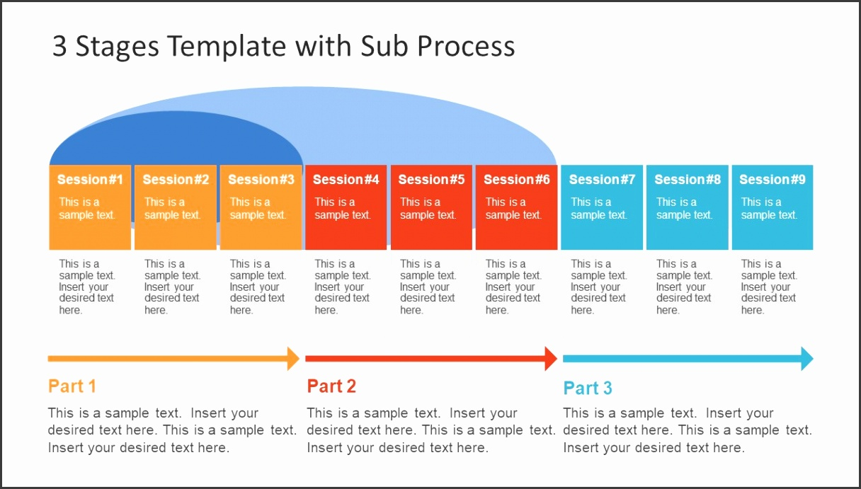 Process Diagram with Sub Processes Colorful Template
