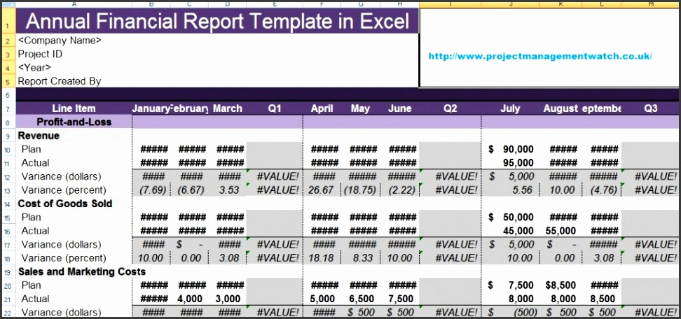 Make Annual Financial Report Template in Excel