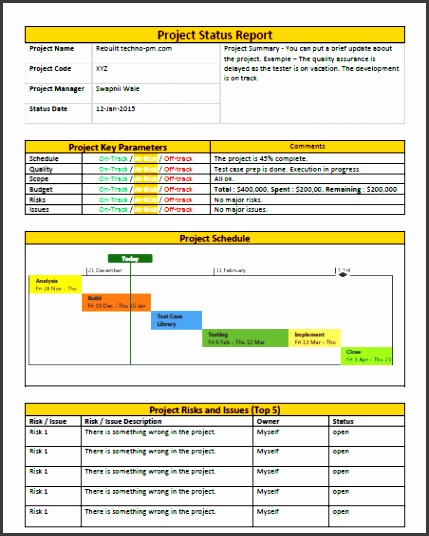 e Page Project Status Report Template