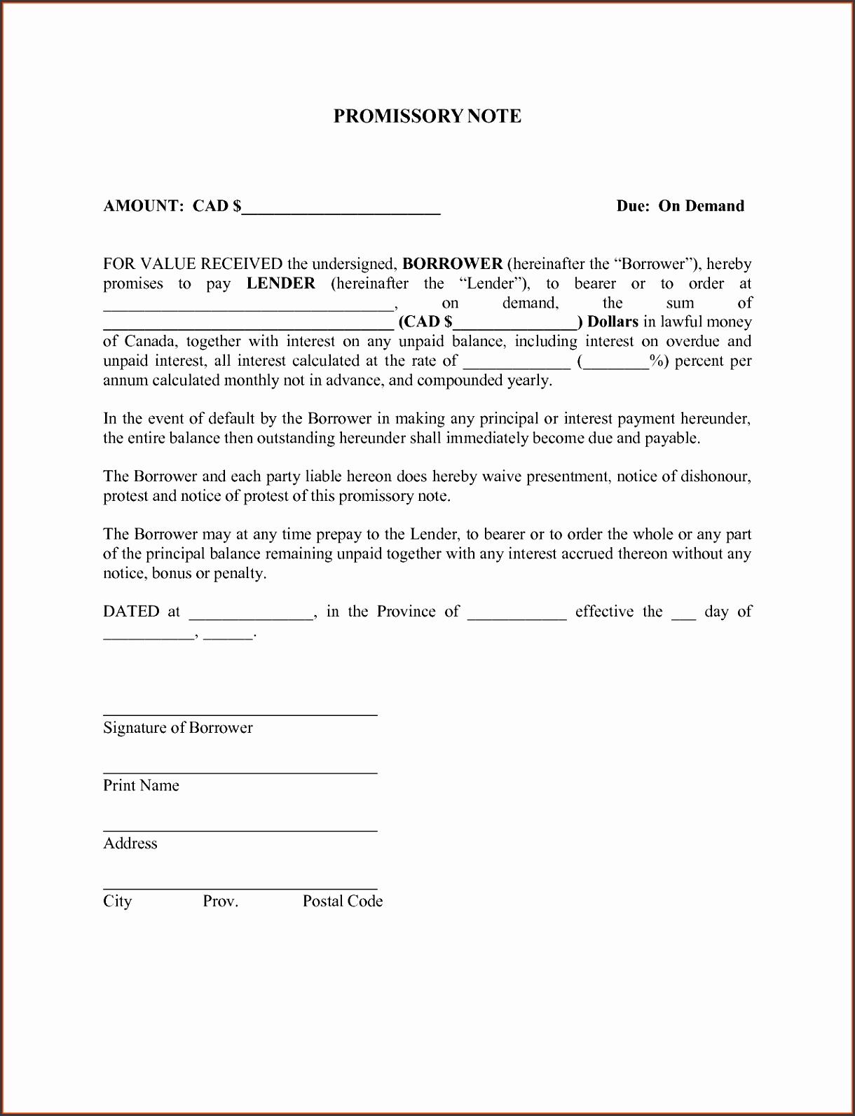 blank promissory note form