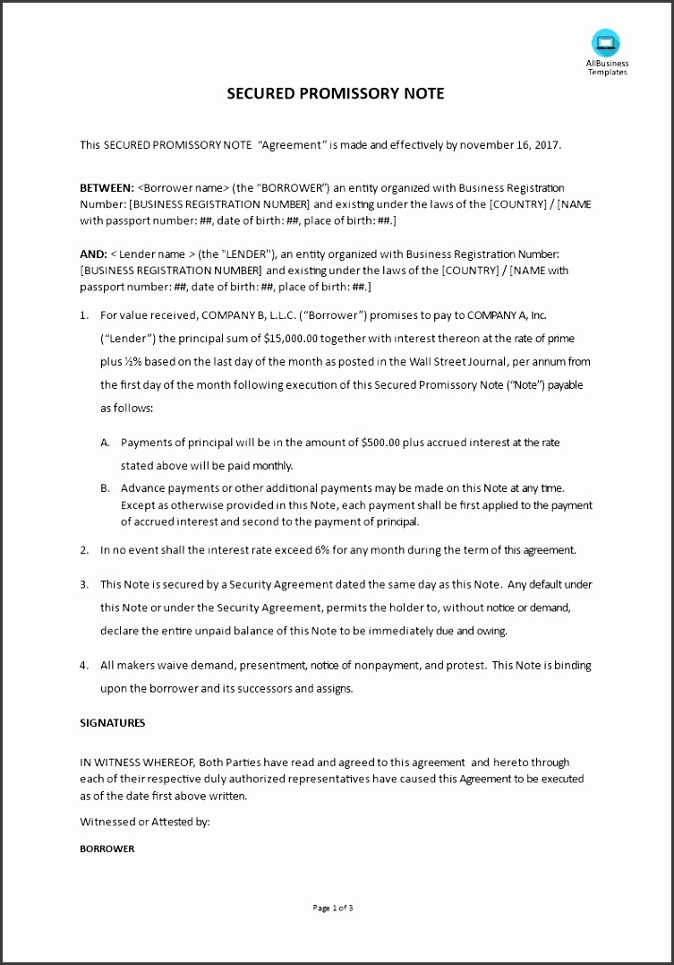 Secured Promissory Note main image Get template