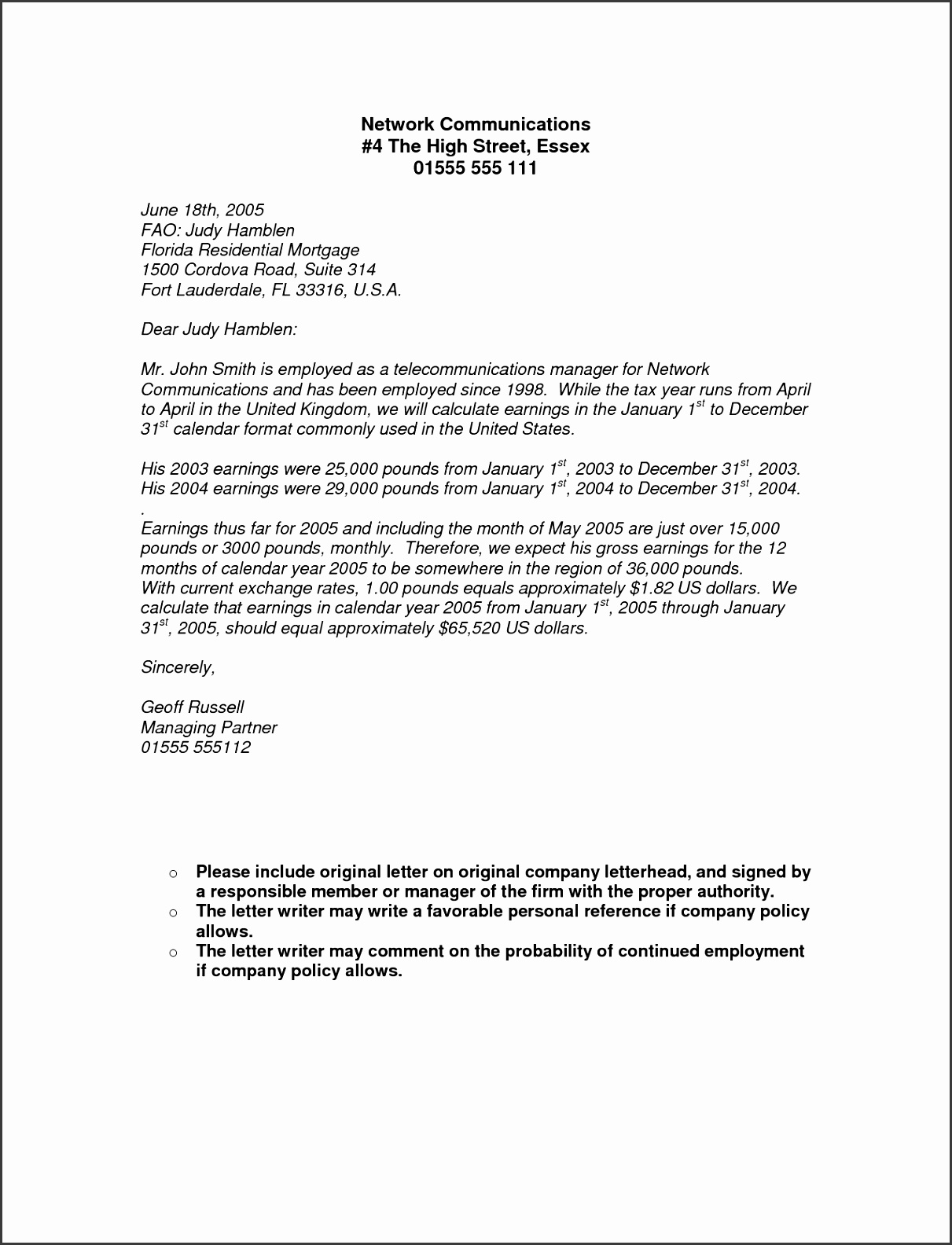 In e Letter From Employer In e Letter From Employer via Proof Employment Letter Template