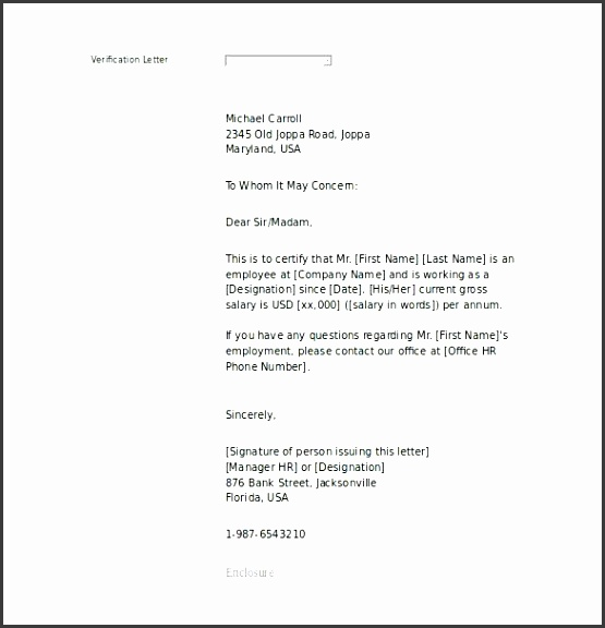 proof of in e employment letter sample word printable templates free example format