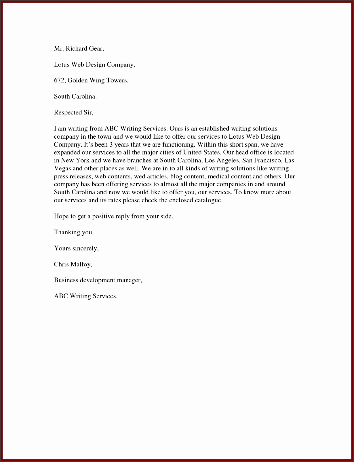 Sample Proposal Letter To fer Services