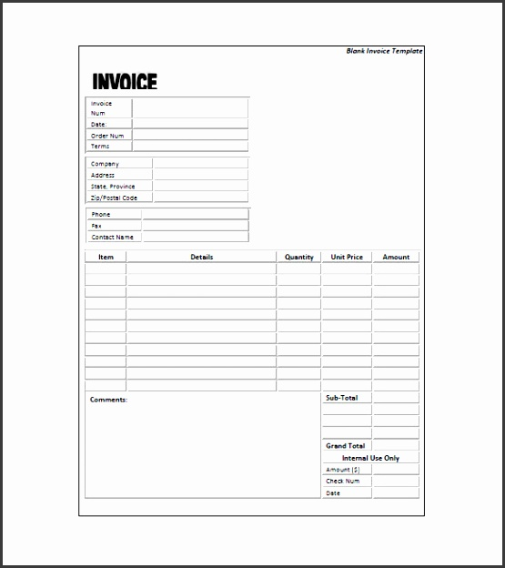 Standard Invoice Template Free Sample Example