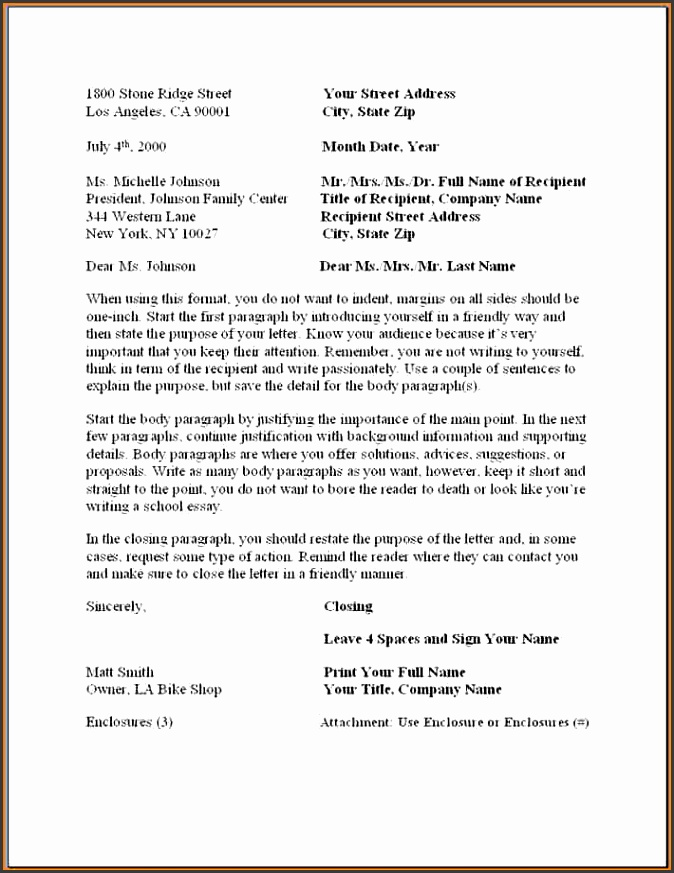 6 formal business letter template