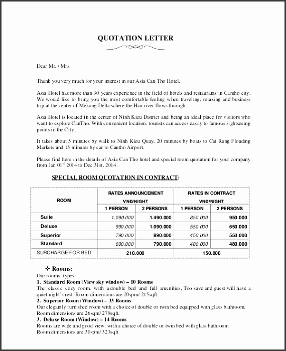 Sales Quotation Sample 8 Documents in PDF quotation letter