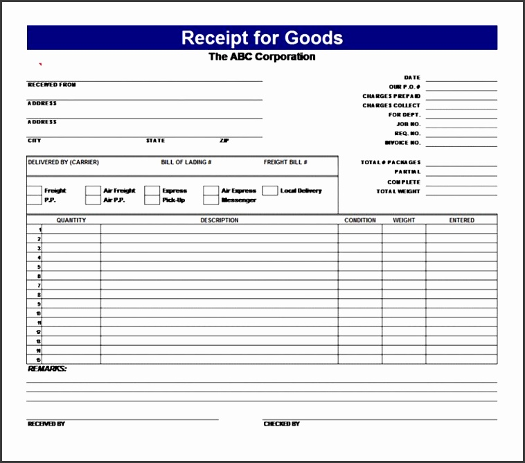 8 receipt forms templates