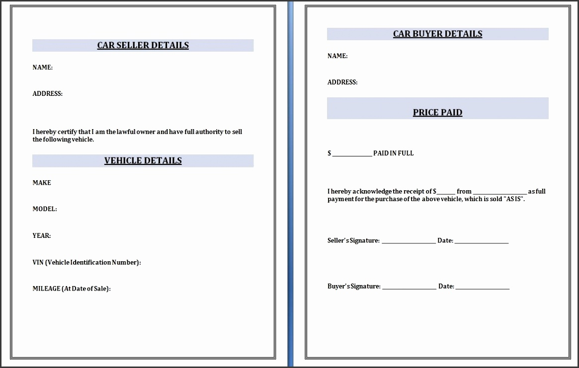 Download Car selling Receipt Template