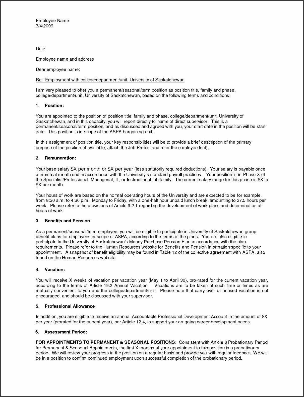 Job offer letter template uk
