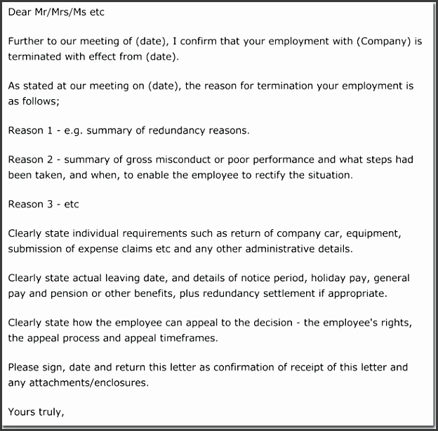 termination letter for poor performance hr advance termination and redundancy warning letter sample for poor performance