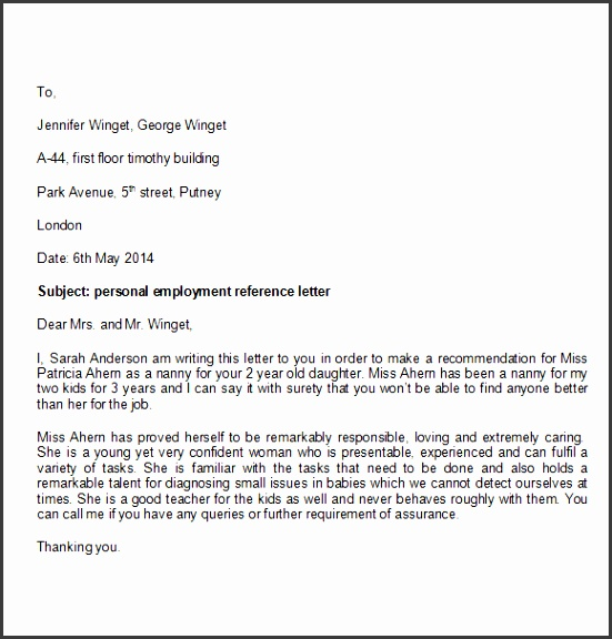 Personal Reference Letter Template Free