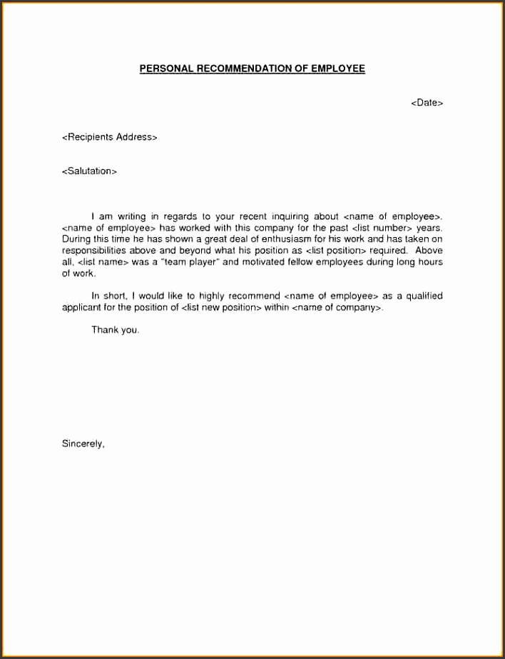 Re mendation Letter Template For Job Template